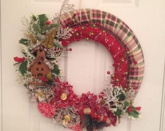 Christmas Wreath, Rustic Christmas Wreath, Double Holiday Wreath, Woodland Wreath, Birdhouse Wreath, Country Christmas, Farmhouse Christmas