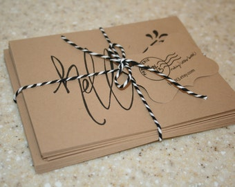 """Greeting Set: 8 hand-lettered brown kraft greeting notecards with envelopes (4.25"""" x 5.5"""")"""