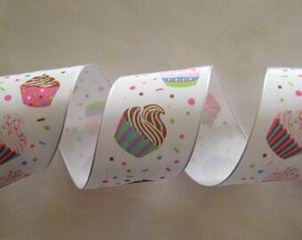 "1.5"" Cupcake Ribbon Wire-Edged Ribbon, Gift Wrapping, Crafting, Birthday Ribbon, Cupcake Favors"