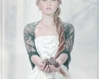 Wedding Bolero,  Dark Green Bridal Shrug. Lace Versatile Cover Up- Shawl, Crisscross, Shrug And Scarf. Forest Wedding , Woodland Bride DL161