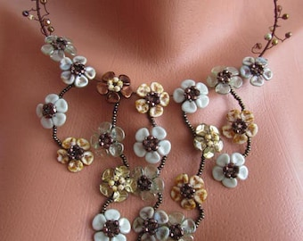 WATTERFALL OF FLOWERS wire wrapped beaded necklace choker