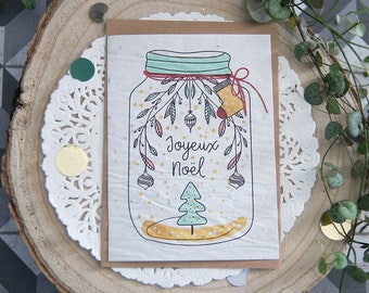 Postcard to plant: Merry Christmas - seeded paper - greeting card - Christmas - flowers - 0 waste - eco-friendly gift