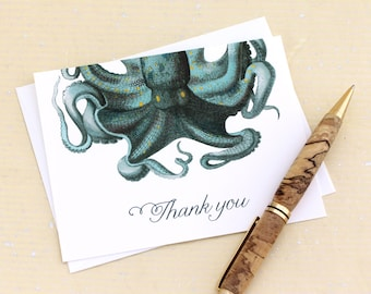 SALE Octopus Thank You Cards - Nautical Stationery Set of 8 Cards with Recycled Envelopes