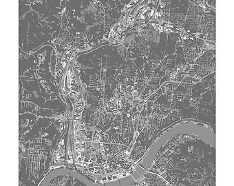 Cincinnati Cityscape Art Print / Ohio Aerial City Map Wall Art / 8x10 / Choose your Color