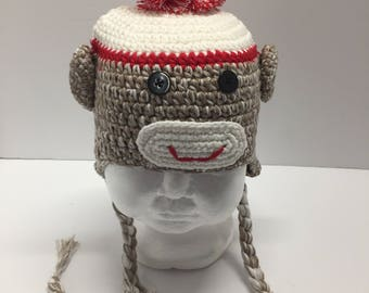 Brown monkey crochet hat, monkey hat with Pom Pom, monkey crochet hat with ear flaps