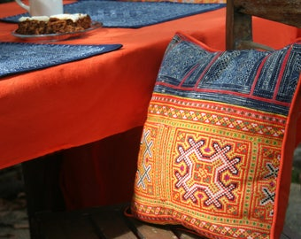 """Boho Pillow  / Cushion Cover, Orange & Yellow Hmong Pillow, Ethnic Embroidery On Cotton 16 """", ** Free Worldwide Shipping **"""