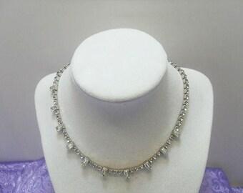 Kramer Rhinestone Necklace  With Baguette Rhinestones / Wedding Style Necklace