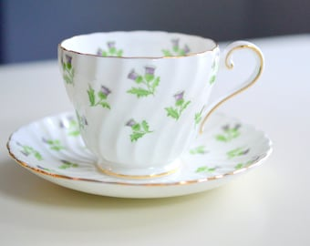 Tea Cup and Saucer, Aynsley, Bone China, Scottish Thistle