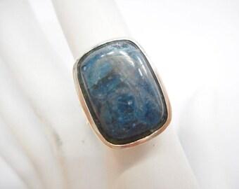 Southwestern Ring, Vintage Ring, Blue Stone Ring, Large Ring, Vintage Southwestern Solid Sterling Silver Large Blue Stone Ring Sz 7.75 #3515