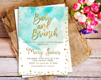 Baby Shower Brunch Invitation, a brunch for baby invitation, blue watercolor baby shower invitation, mint watercolor invites, gold brunch
