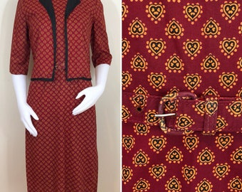 50s 60s Jerry Gilden Dark Red Heart Print Cotton Suit, Wiggle Dress with Jacket, Size Small