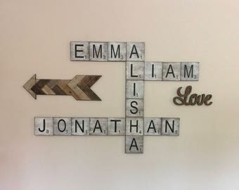 ON SALE Free Shipping, Large Scrabble Tiles, scrabble tiles, scrabble, scrabble letters, scrabble wall art, home decor, large scrabble,