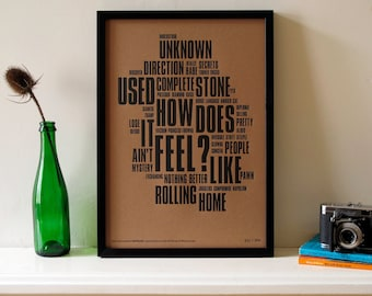 Bob Dylan - Like A Rolling Stone Distilled. Limited Edition Letterpress A3 Poster Print.