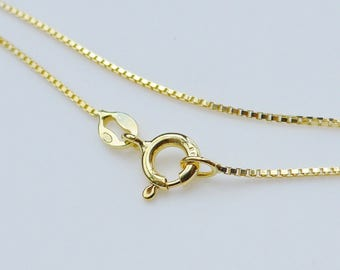 2 pcs, 16 Inches, 1mm 18K Gold over 925 Sterling Silver Box Chain, Finished Chain - Made in Italy, LW