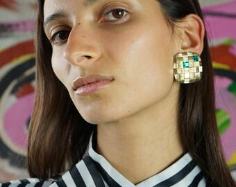 Geometric vintage clip-on earrings