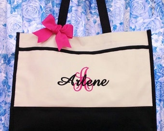 Set of 7 Personalized Tote Bags Bridesmaid Tote Bags Bridesmaid Bags Bridesmaid Gifts Monogrammed Wedding Tote Bags