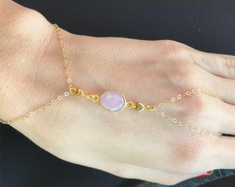 Dainty Hearts 14k Gold Filled Chain Bracelet with Rose Chalcedony