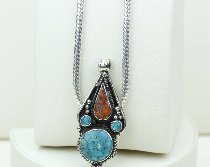 4MM Chain INCLUDED DOESN'T fit the Bail! Native Tribal Ethnic Vintage Nepal Tibetan Jewelry OXIDIZED Silver Pendant + Chain P3983