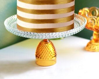 "Gold Cake Stand 12"" Glass Cake Plate Pedestal / Vintage Gold Cake Stand / Crystal Glass Cake Pedestal Stand / Cupcake Stand Dessert Pedestal"