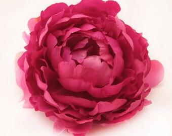 Jumbo Raspberry Fuchsia Dark Pink Peony - Artificial Flower, Silk Flower Head