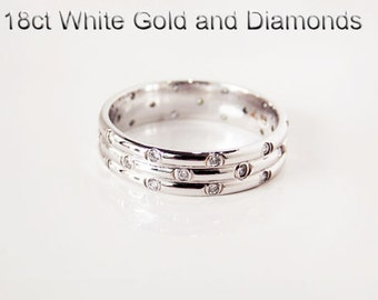18ct 750 white gold natural round brilliant cut diamond dress friendship wedding ring - HJ75