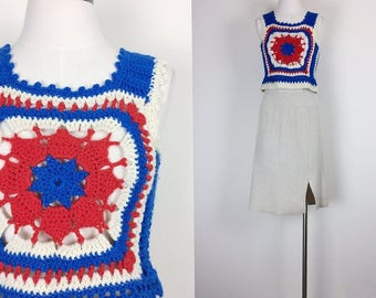 vintage knit tank top wool tank top crochet tank top women's size XS/S
