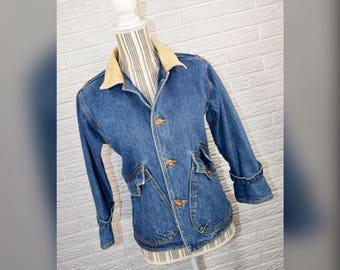 Vtg 90s London Fog Flannel Lined Denim Jacket w/Corduroy Collar