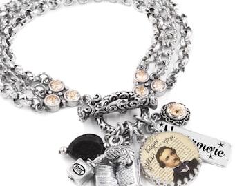 Edgar Allen Poe Jewelry, Gothic Jewelry, Poe Bracelet, Raven Charm Bracelet, Author Jewelry, Edgar Allan Poe