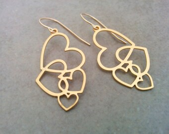 Gold Heart Earrings, Heart Earrings, Gold Earrings, Heart Jewelry, Heart Gold Earrings, Valentines Gift, Gold Heart Jewelry, Dangle Earrings