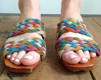 Vintage Liz Claiborne wood and leather sandals W 7.5