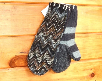 Upcycled Chevron Sweater Mittens