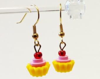Mini Pink and Yellow Cupcake Dangle Earrings