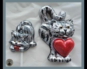 Chocolate Cats/Cat Gift/Cat Lover/Pet lollipop/Tabby/Cat with heart/kitten/wool/kids/children/child/woman/women/son/daughter/mum/sister