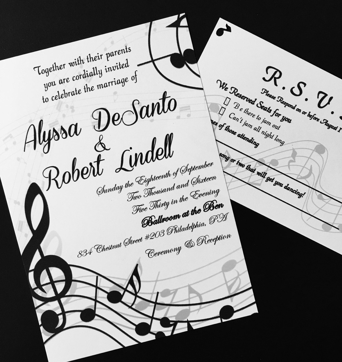 Music Themed Wedding Invitations