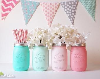 Baby shower centerpiece / shower decor / girl baby / boy baby / painted mason jars / vase / centerpiece / utensil holder / set of 4 / pink