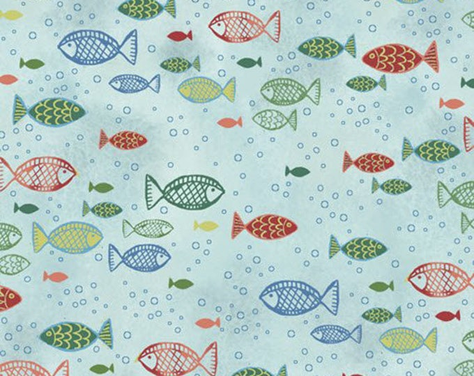 DREAM BOATS - Fish in Blue - Sailboats Sailboat Boat Boats Fishes - Cotton Quilt Fabric - Quilting Treasures Fabrics - 24345-B (W4061)
