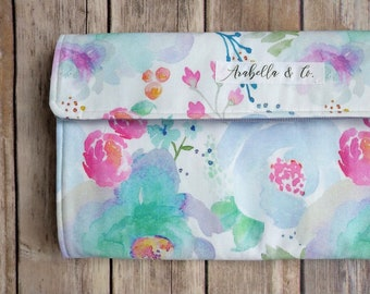 Diaper Clutch- Spring Blooms, Diaper Clutch with Changing Pad, Diaper Holder, Diaper Clutch Pockets, Diapers and Wipes Case, Floral,