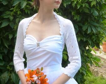 Elegant White ,Bolero Shrug, Wedding Bolero, Openwork White Bolero Shrug