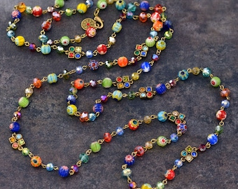 Long Millefiori Glass Beads Necklace, Millefiori Necklace, Beaded Necklace, Layering Necklace, Rainbow Murano Glass, Retro 1960s N464