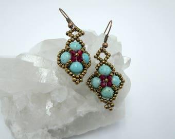 Turquoise Earrings Diamond Shape Beaded Earrings Seen on Bones Emily Deschanel Turquoise Jewelry Red Beaded Earrings Brass Jewelry