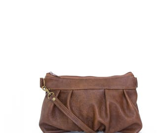 Ruche Crossbody Clutch in Chestnut, Leather Clutch, Crossbody Clutch, Crossbody Bag, Clutch, Ready to Ship