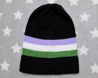 Knit Pride Hat - Genderqueer Pride - Black - Slouchy Beanie