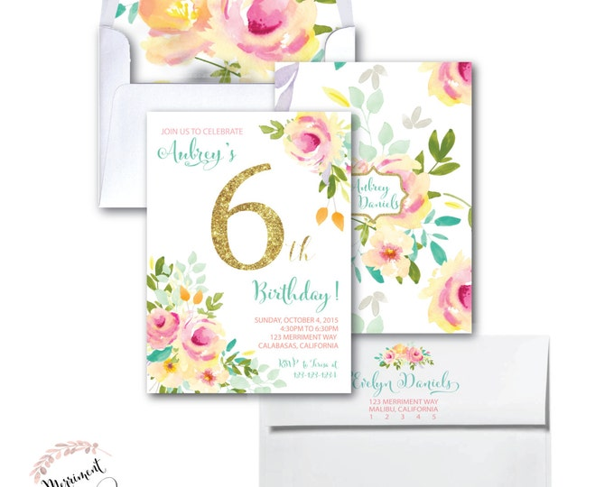 6TH Birthday Invitation //Roses /Peonies //Peony// 2nd // 3rd // 4th // 5th // 6th // Pink // Gold Glitter // Yellow// MALIBU COLLECTION