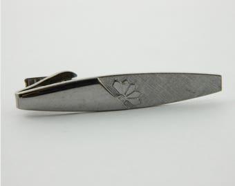 Silver Art Deco Print Tie Clip