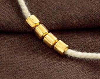 4 of karen hill tribe  24k Gold  Vermeil Style Drum Beads 4x5 mm. :vm1118