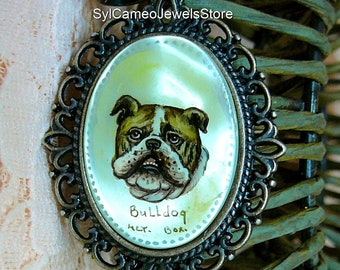 Hand Painted Bulldog Cameo Pendant Necklace Dangle Star Charm Original Art Jewelry SylCameoJewelsStore