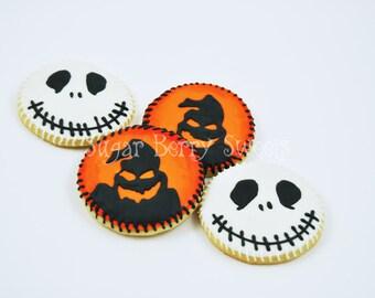 Jack Skellington and Oogie Boogie Halloween - decorated sugar cookies  -nightmare before Christmas -  Pumpkin King- trick or treat