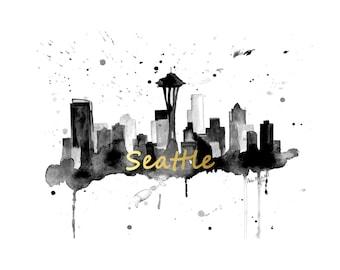 Seattle Skyline Art - Seattle Skyline Art Print - Gold Foil Skyline Art Print - Skyline Canvas Art Print - Seattle Skyline Art