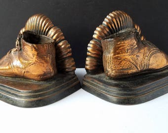 Bronzed Baby Shoe Heavy Metal Bookends with Scalloped Detail