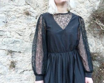 1980's lace sleeve, pleated midi dress